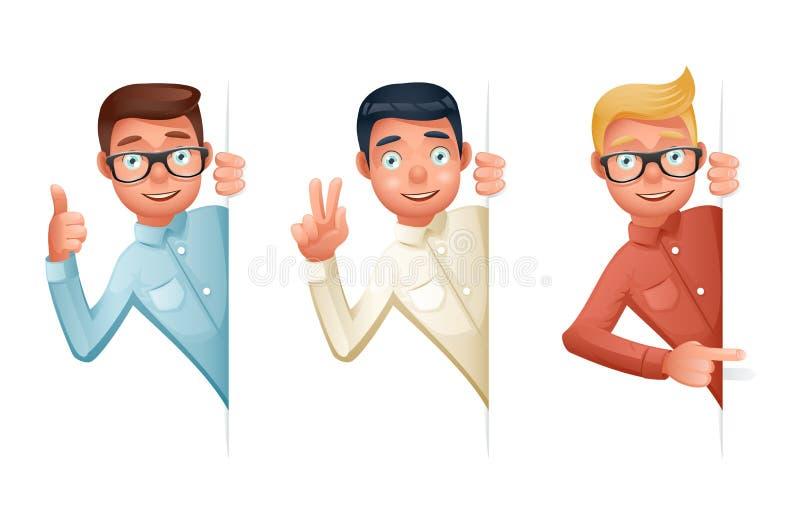 Указывать помощь поддержки пальца смотря вне угловые характеры бизнесмена шаржа идеи 3d установил символ решения значка ретро иллюстрация штока