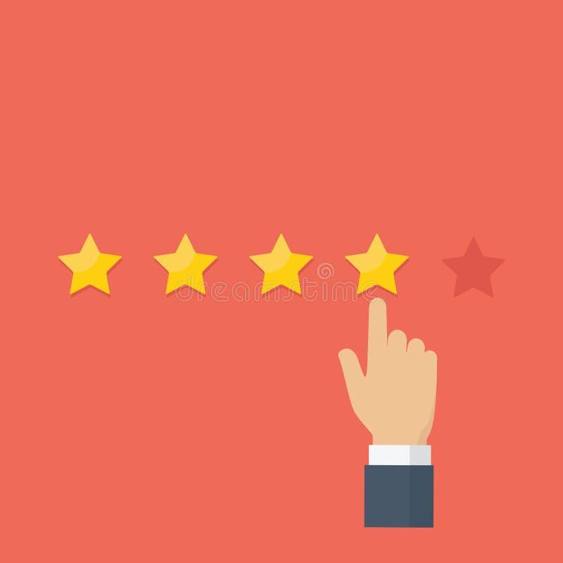 Указывать рука и классифицировать звезду, обзор клиента, оценка, концепция обратной связи с пользователем иллюстрация вектора