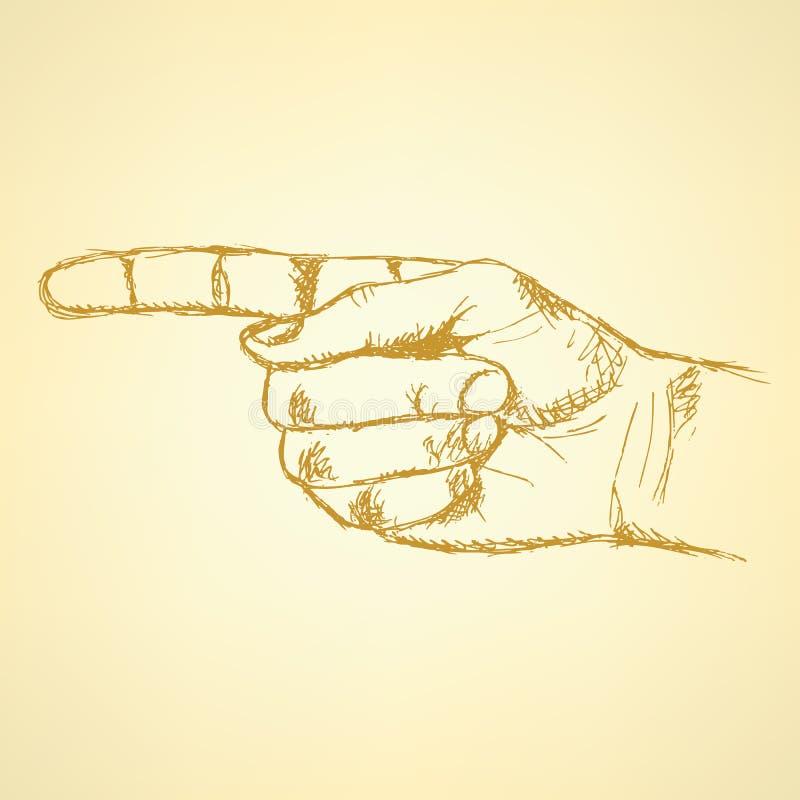 Указывать рука, предпосылка вектора в стиле эскиза иллюстрация вектора