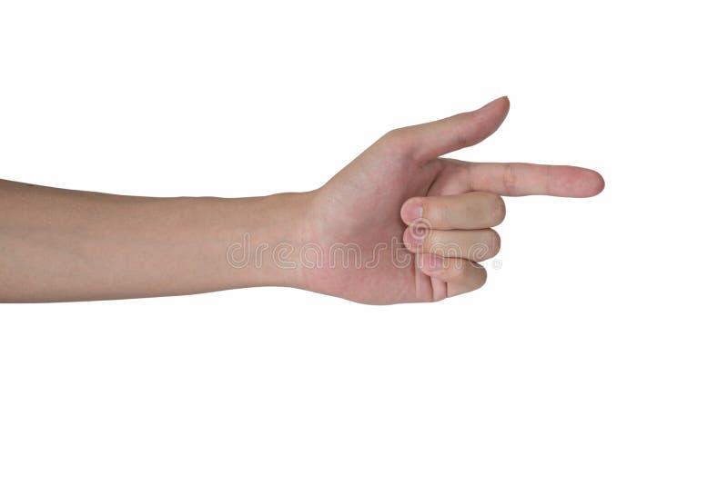 Указывать руки человека изолированный с белой предпосылкой стоковые изображения rf