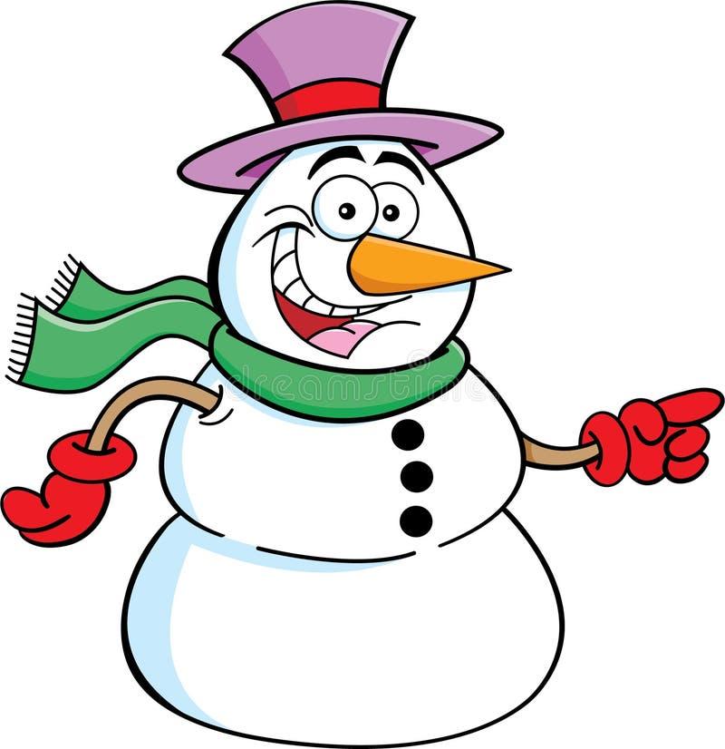 Указывать снеговик иллюстрация вектора