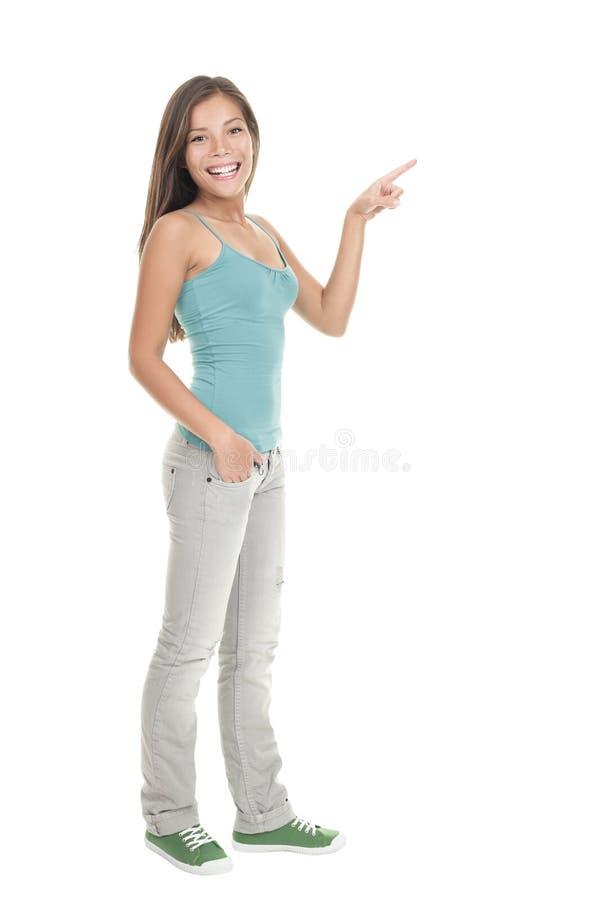 указывать стоящая женщина стоковые изображения