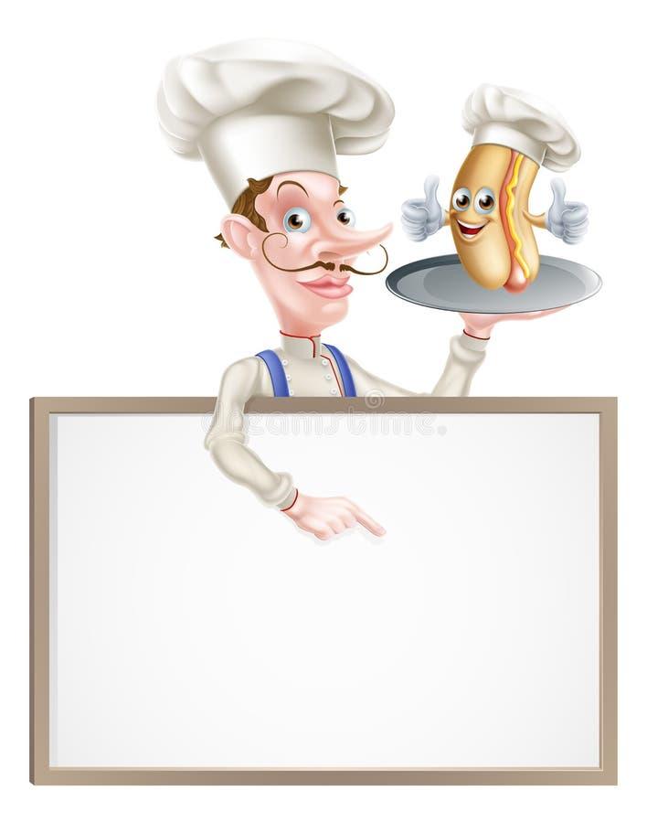 Указывать шеф-повара мультфильма горячей сосиски иллюстрация вектора