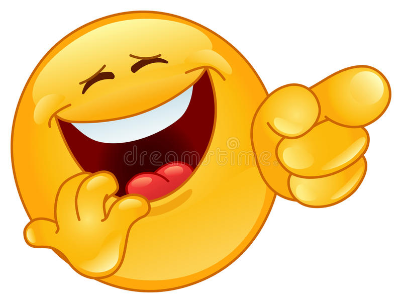 указывать emoticon смеясь над стоковое фото