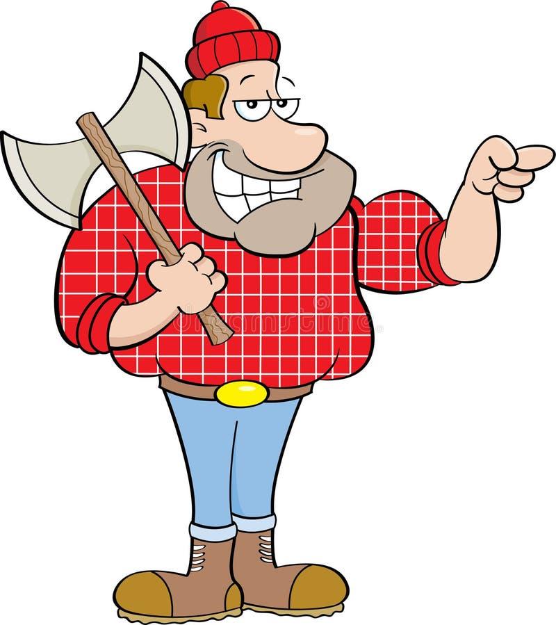 Указывать lumberjack шаржа иллюстрация вектора