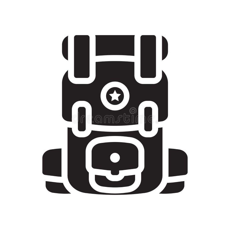 Укладывайте рюкзак знак и символ вектора значка изолированные на белом backgroun иллюстрация вектора