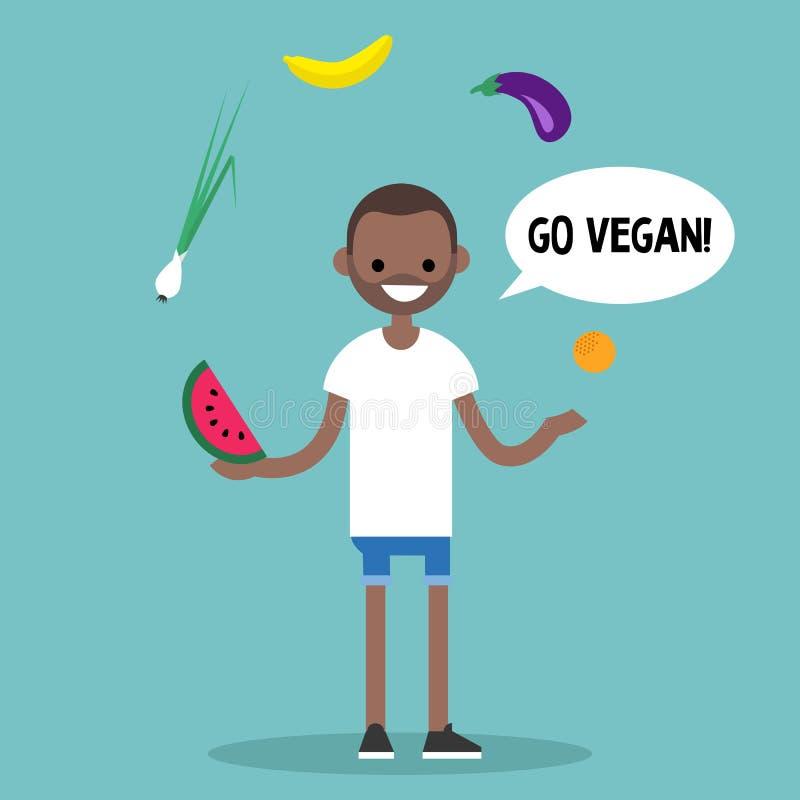 уклад жизни самомоднейший идет vegan Плодоовощи молодого чернокожего человека жонглируя и иллюстрация штока