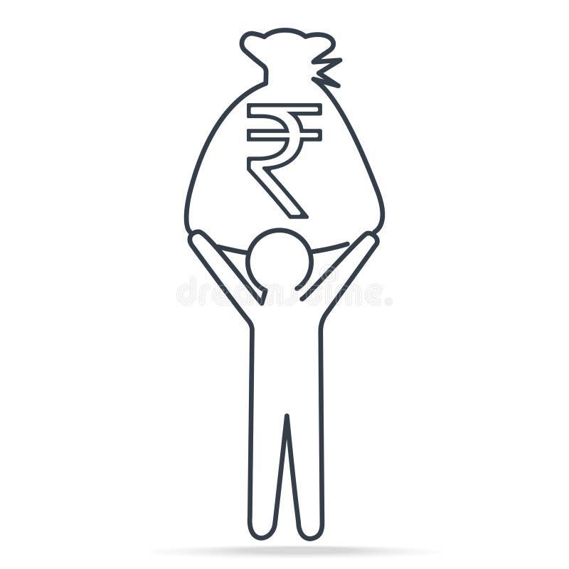 Укомплектуйте личным составом валюту нося INR рупии в деньгах сумки, простой линии значке иллюстрация вектора