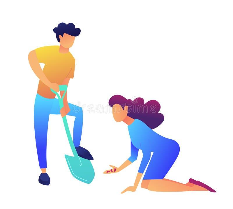 Укомплектуйте личным составом выкапывать при showel и женщина засаживая иллюстрацию вектора семян иллюстрация штока