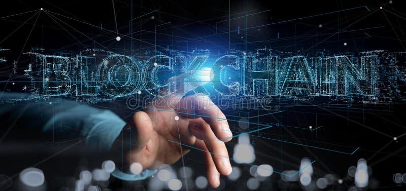 Укомплектуйте личным составом держать название Blockchain изолированный на предпосылке стоковое изображение rf