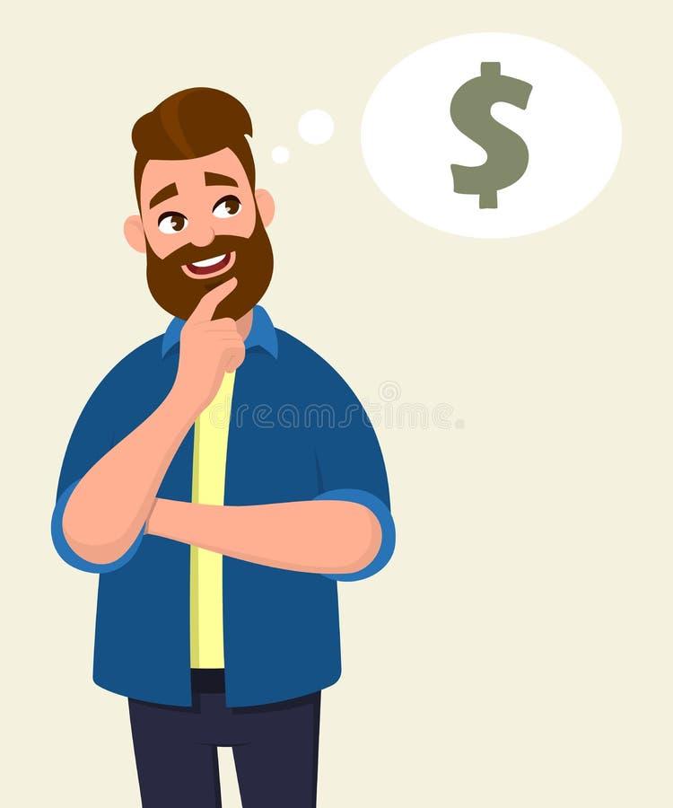 Укомплектуйте личным составом думать для значка доллара или символ с улыбкой Концепция денег в пузыре мысли иллюстрация вектора