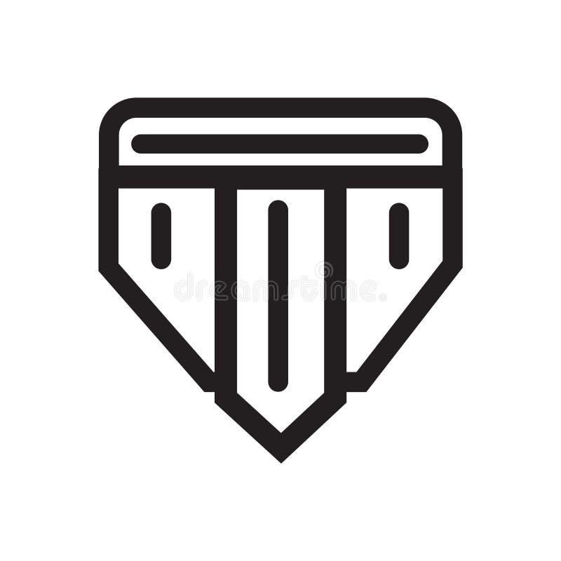 Укомплектуйте личным составом знак и символ вектора значка нижнего белья изолированные на задней части белизны иллюстрация вектора