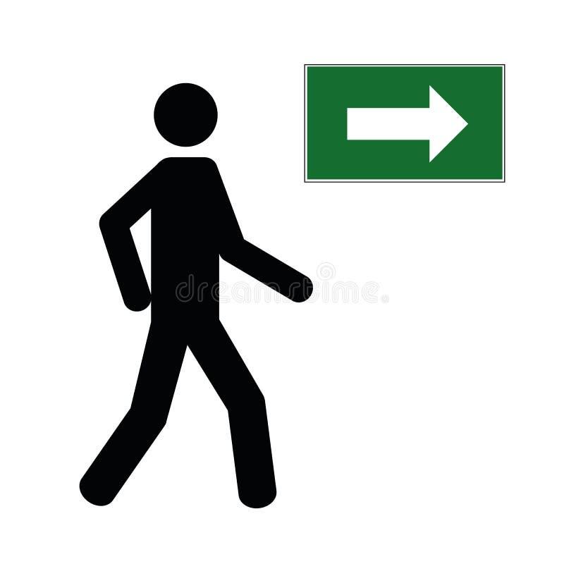 Укомплектуйте личным составом идти пиктограммой значка ноги пешеходной с зеленой стрелкой иллюстрация вектора