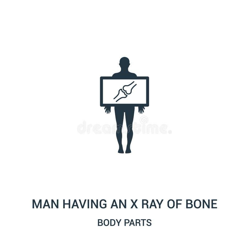 укомплектуйте личным составом иметь луч x вектора значка косточки от собрания частей тела Тонкая линия человек имея луч x вектора иллюстрация вектора