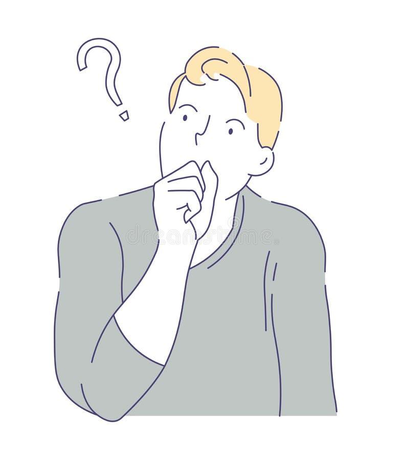 Укомплектуйте личным составом иметь сомнения вопроса и мысль неуверенности иллюстрация вектора