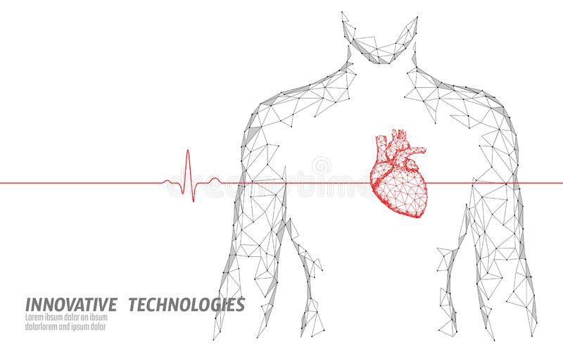 Укомплектуйте личным составом модель медицины сердцебиений 3d силуэта здоровую низко поли Соединенный треугольником доктор пункта бесплатная иллюстрация