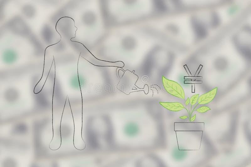 Укомплектуйте личным составом мочить завод с расти символа валюты японских иен бесплатная иллюстрация