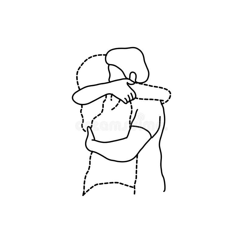 Укомплектуйте личным составом объятия его прозрачная брошенная линия иллюстрация s вектора любовника иллюстрация вектора