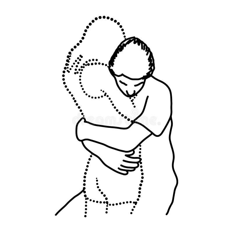 Укомплектуйте личным составом объятия его прозрачная рука d эскиза иллюстрации вектора любовника иллюстрация штока