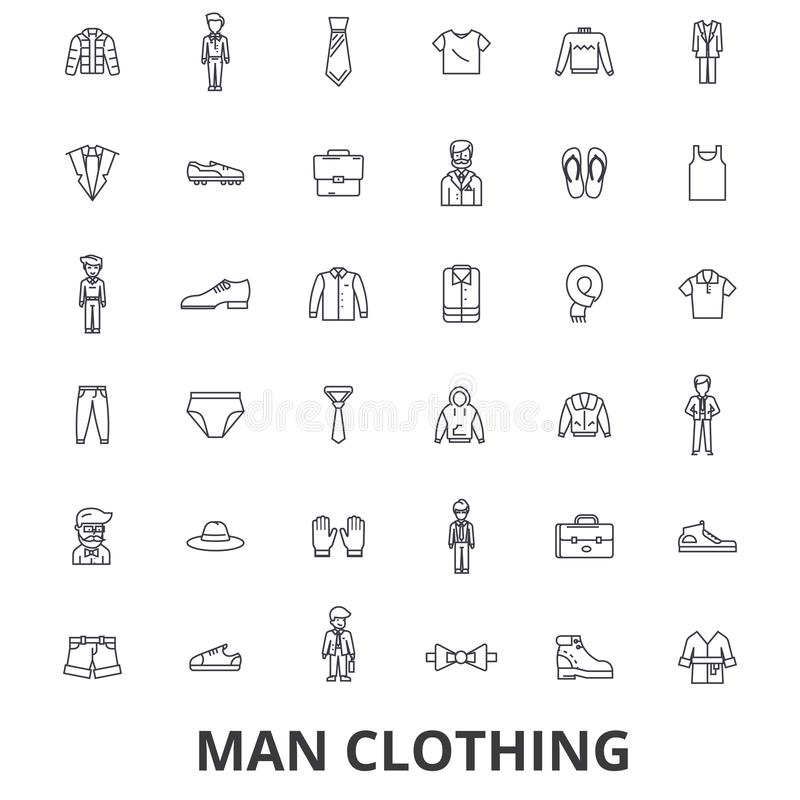 Укомплектуйте личным составом одежду, одежды, моду, носку, ботинок, связь, костюм, линию значки рубашки Editable ходы Плоский век иллюстрация вектора