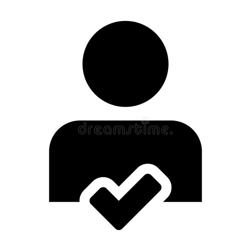 Укомплектуйте личным составом персону потребителя значка мужскую воплощение профиля с признавает символ в плоской пиктограмме гли иллюстрация штока