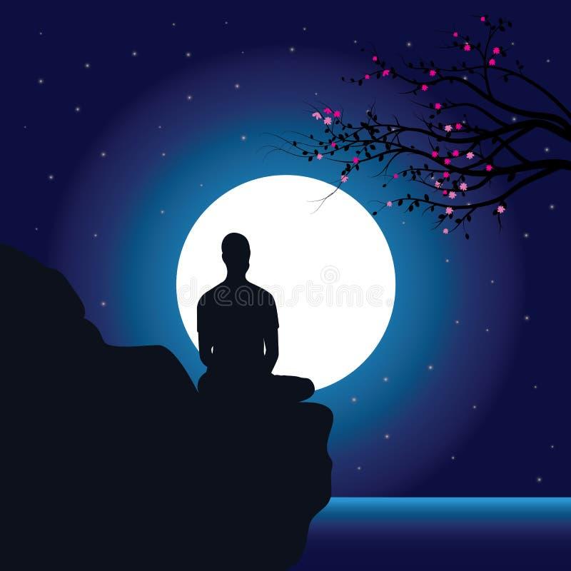 Укомплектуйте личным составом размышлять в сидя положении йоги на верхней части горы над облаками на заходе солнца Дзэн, раздумье иллюстрация вектора