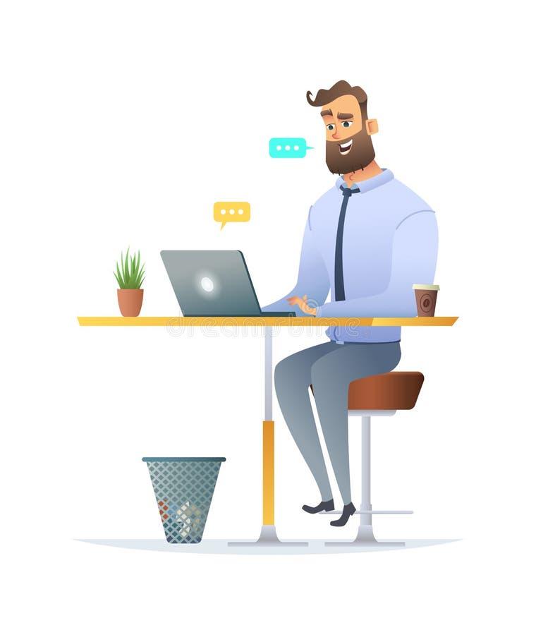 Укомплектуйте личным составом сидеть на столе и беседовать на его компьтер-книжке Дизайн персонажа из мультфильма Fanny иллюстрация вектора