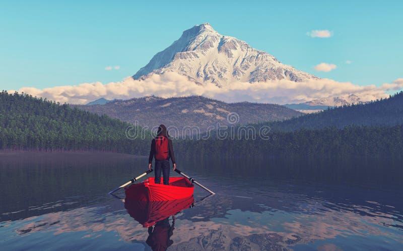 Укомплектуйте личным составом сидеть на шлюпке на озере горы иллюстрация вектора