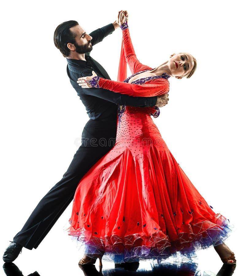 Укомплектуйте личным составом силуэт танцев танцора сальсы танго бального зала пар женщины стоковое изображение