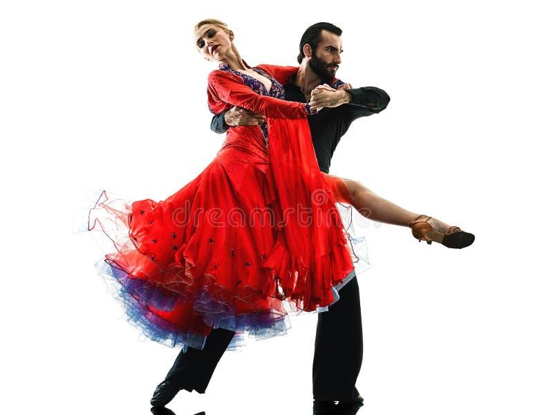 Укомплектуйте личным составом силуэт танцев танцора сальсы танго бального зала пар женщины стоковая фотография rf