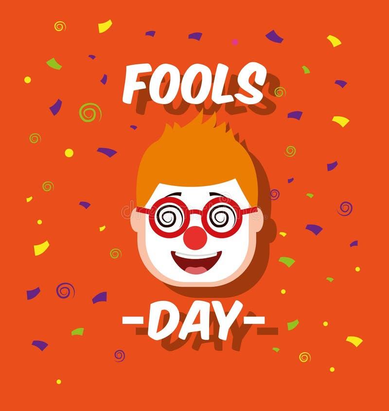 Укомплектуйте личным составом сторону с смешным днем дурачков стекел маски клоуна иллюстрация штока