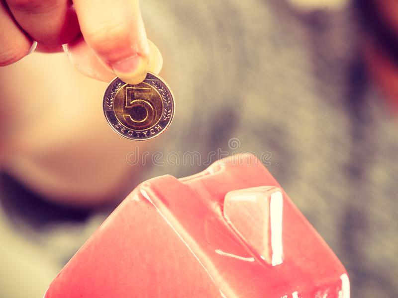 Укомплектуйте личным составом установку денег в piggybank дома стоковые фотографии rf