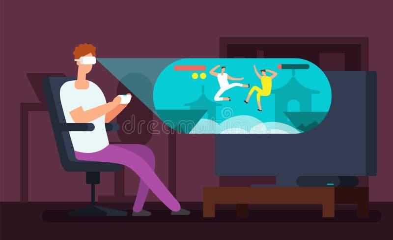Укомплектуйте личным составом videogamer сидя в кресле и играя виртуальную игру используя иллюстрацию вектора шлемофона vr иллюстрация вектора