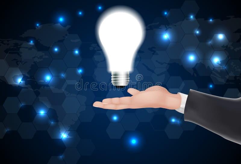 Укомплектуйте личным составом держать накаляя лампочку в ее руке иллюстрация штока