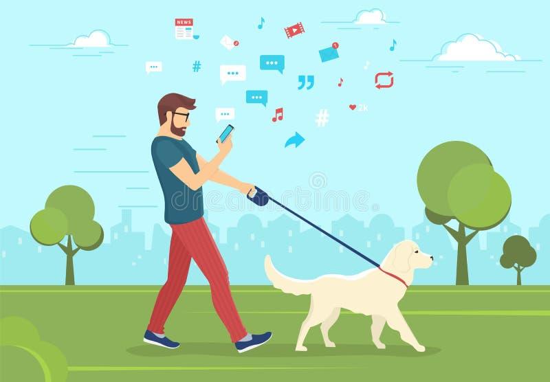 Укомплектуйте личным составом идти с собакой outdoors в парк и использование smartphone для того чтобы прочитать новости иллюстрация вектора