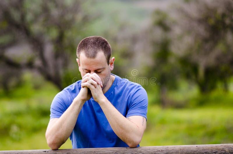 Укомплектуйте личным составом молить с его головой вниз снаружи в природе стоковые фото