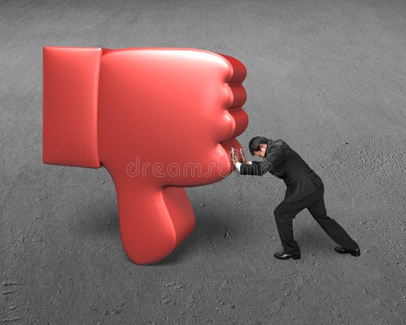 Укомплектуйте личным составом попытку для того чтобы нажать вниз красный большой палец руки 3D вниз стоковые изображения rf