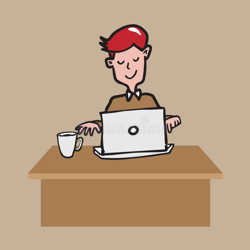 Укомплектуйте личным составом работу на labtop с чертежом шаржа кофе иллюстрация вектора