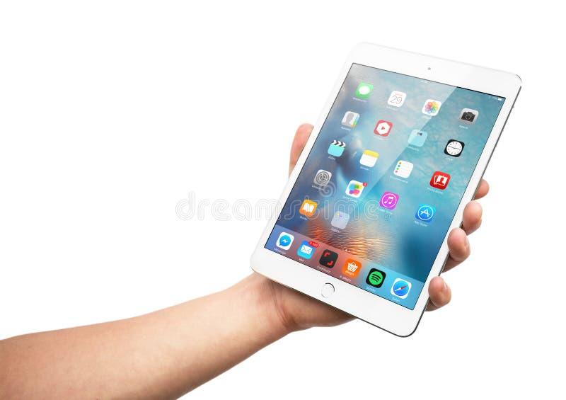 Укомплектуйте личным составом руку держа сетчатку 3 iPad мини стоковое фото
