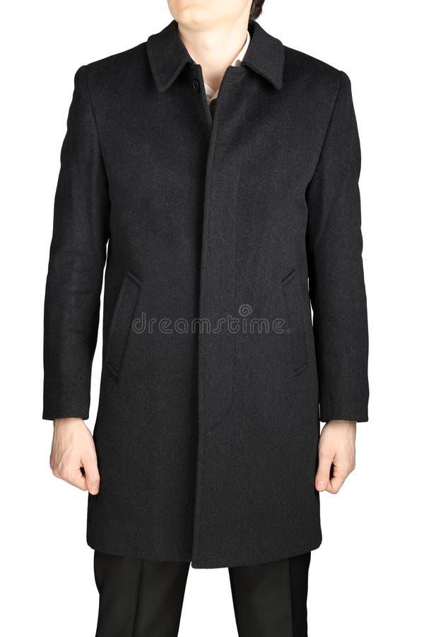 Укомплектуйте личным составом серое пальто шерстей, изолированное на белой предпосылке стоковое фото rf