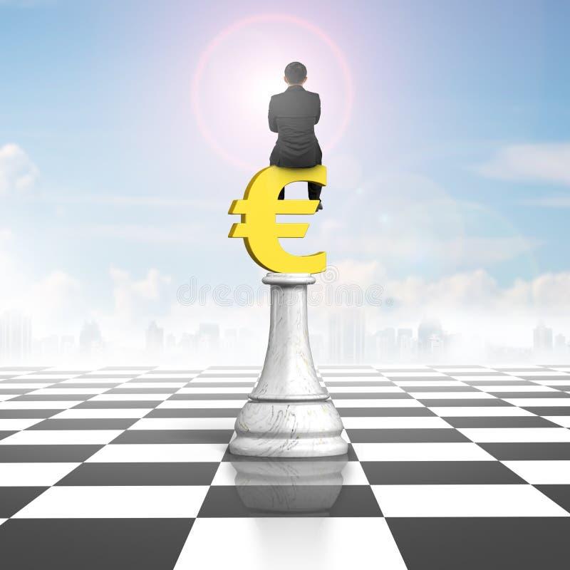 Укомплектуйте личным составом сидеть на символе евро шахмат денег бесплатная иллюстрация