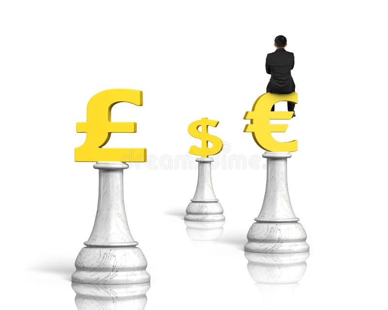 Укомплектуйте личным составом сидеть на символе евро шахмат денег, перевода 3D иллюстрация вектора