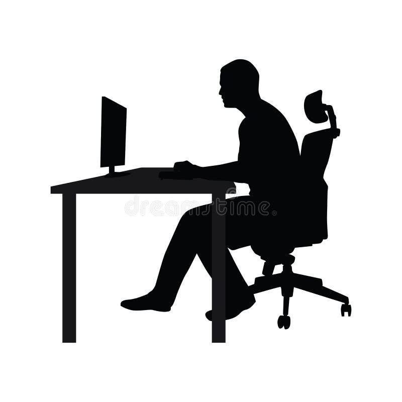 Укомплектуйте личным составом сидеть на стуле офиса на таблице и работу бесплатная иллюстрация