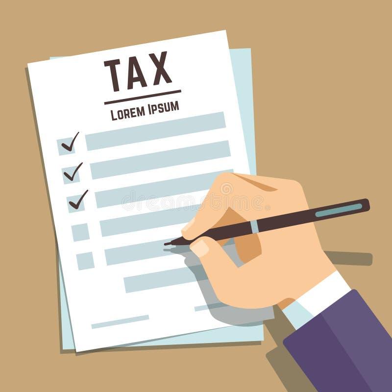 Укомплектуйте личным составом сочинительство руки на налоговой форме, концепции вектора обложения дохода дела бесплатная иллюстрация