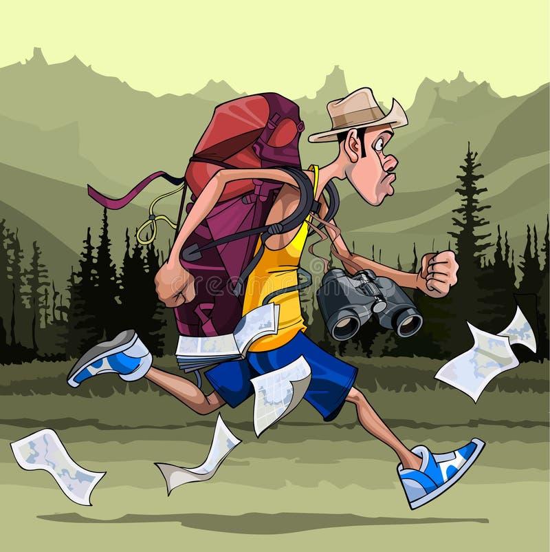 Укомплектуйте личным составом туриста с рюкзаком, биноклями и картами, быстрыми бегами иллюстрация штока