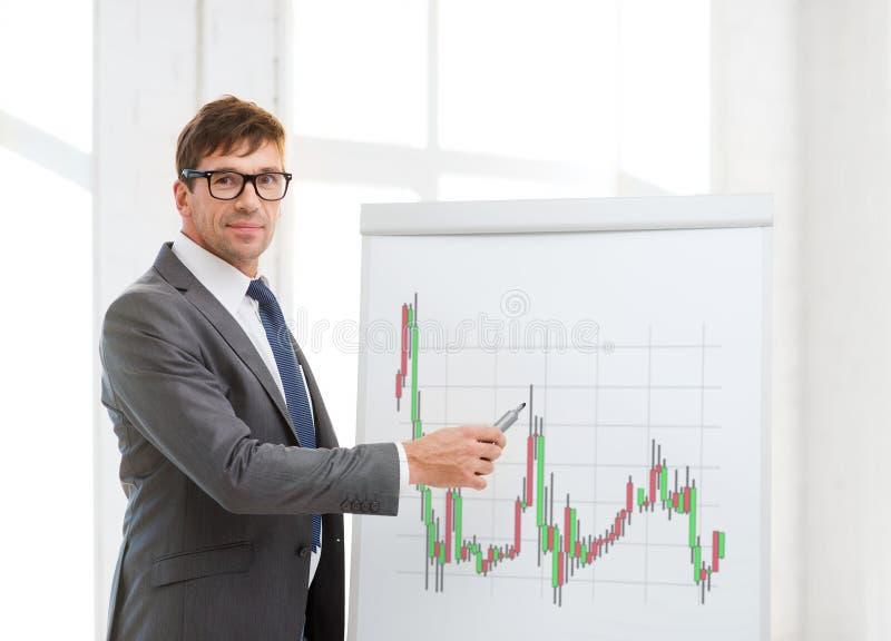 Укомплектуйте личным составом указывать к доске сальто с диаграммой валют стоковые фотографии rf