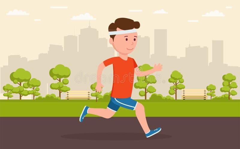 Укомплектуйте личным составом jogging в парке между большим городом бесплатная иллюстрация