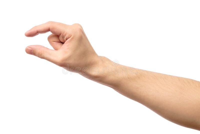 Укомплектуйте личным составом ` s руки измеряя незримый изолированный деталь стоковые изображения rf