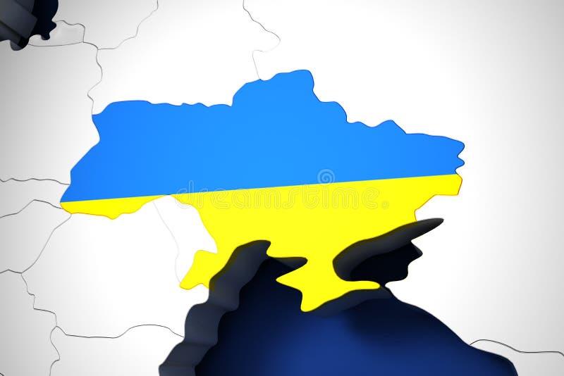 Украина на карте мира 3d представляет бесплатная иллюстрация