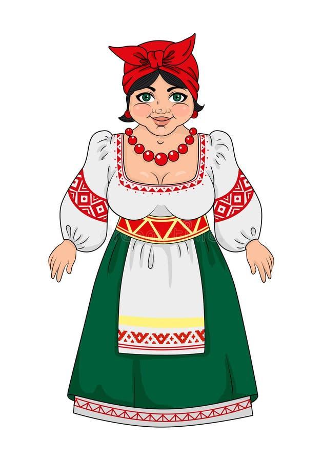 Украинец, девушка в национальном костюме beadworker большая грудь иллюстрация вектора